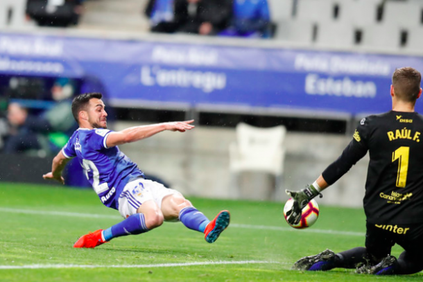 Momento del gol anulado a Joselu |Imagen: Real Oviedo