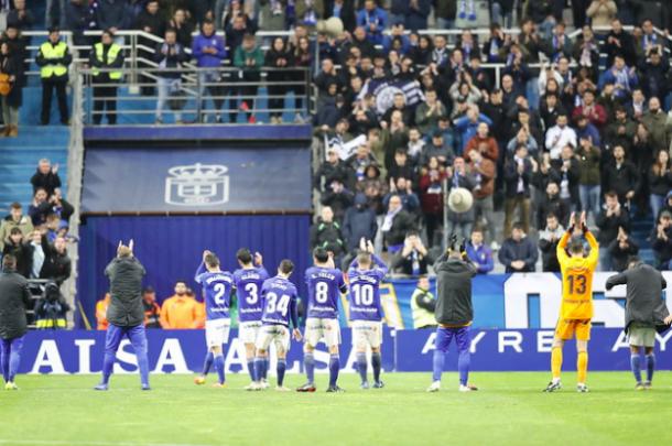 Agradecimiento de los jugadores por el apoyo | Imagen: Real Oviedo