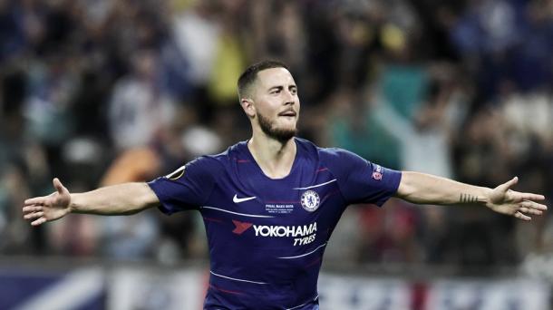 Hazard celebrando un tanto con el Chelsea. Foto: UEFA.com
