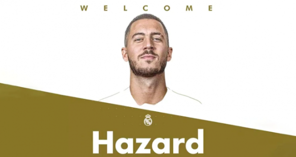 La fotografía con la que oficializó el Madrid el fichaje de Hazard. Foto: Real Madrid.