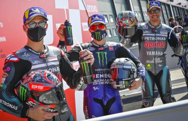 Fabio Quartararo, Maverick Viñales y Franco Morbidelli, Circuito de Italia / Fuente: motogp.com