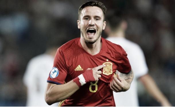 Celebración del gol de Saúl ante Italia   Foto: Uefa.com