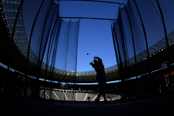 Hammer athlete warming up before the competition (Photo: Mathias Hangst/Getty Images)