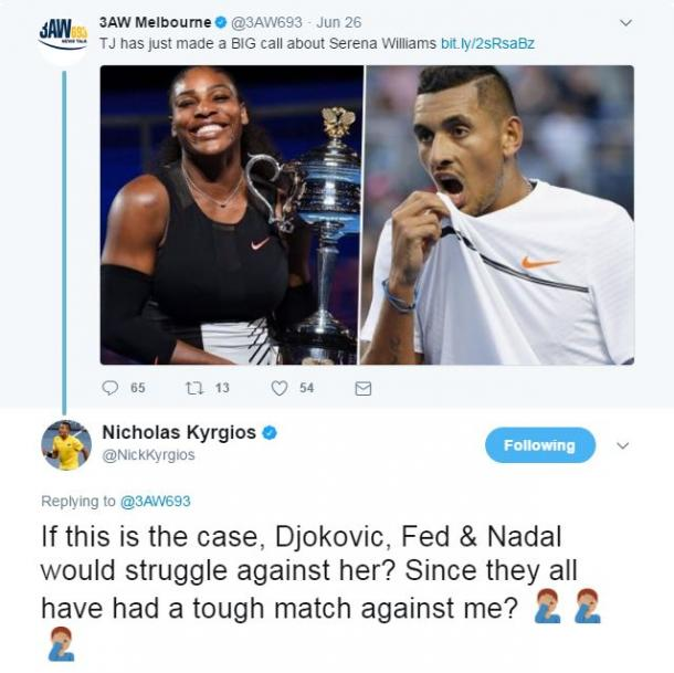 Nick Kyrgios responding to comments (Photo: Twitter)