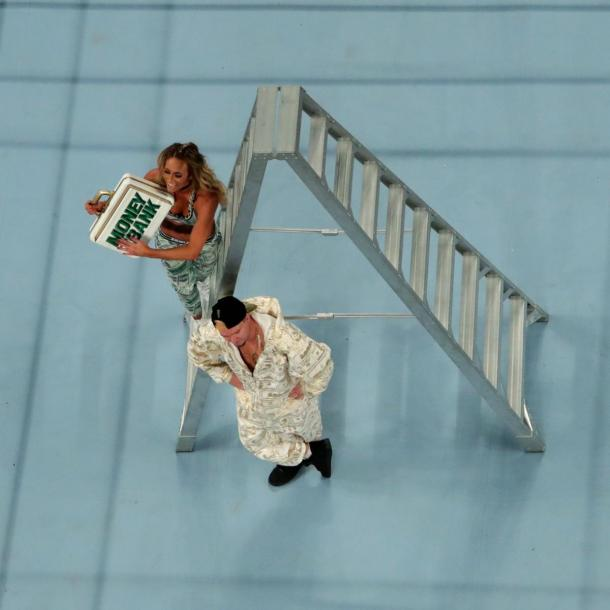 Carmella was the first victor and made history in the Women's MITB ladder match (image: wwe,com)