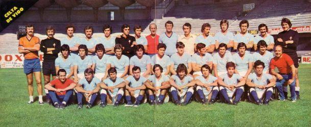 Carmelo Cedrún, a la izquierda de Pepe Villar, con la plantilla que afrontó la temporada 1976/77 (Foto: halacelta.com)