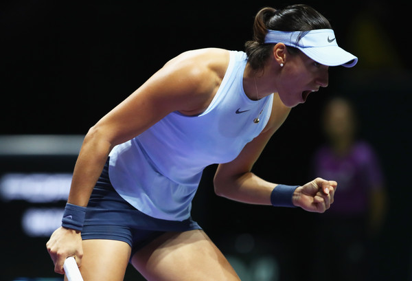 Caroline Garcia celebrates winning the tight first set | Photo: Clive Brunskill/Getty Images AsiaPac