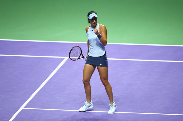 Caroline Garcia celebrates winning a point | Photo: Clive Brunskill/Getty Images AsiaPac