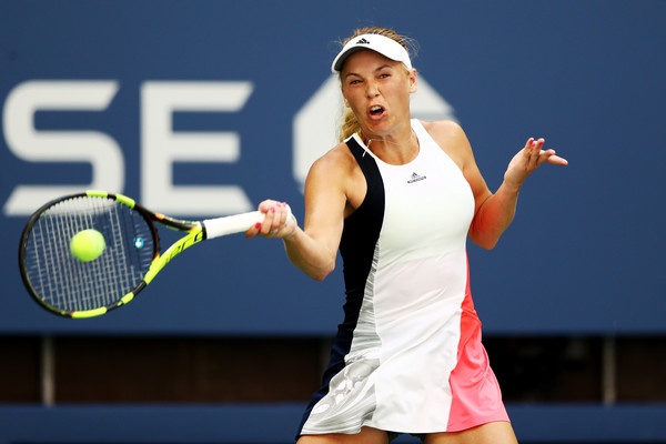 Caroline Wozniacki hits a forehand at the US Open in New York City/Getty Images