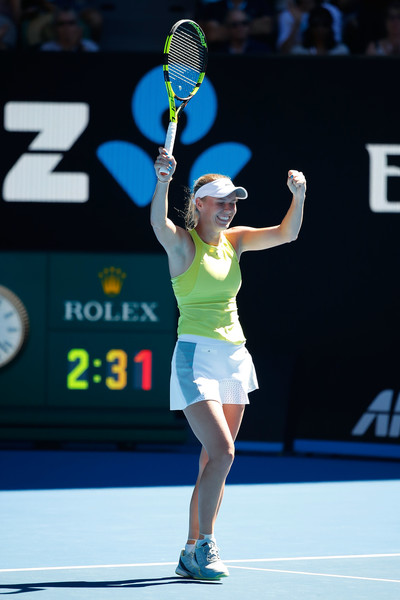 Caroline Wozniacki celebrates the hard-fought victory | Photo: Scott Barbour/Getty Images AsiaPac