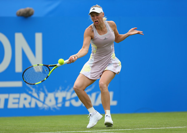 Wozniacki hits a forehand in WTA Eastbourne action. Photo: Steve Bardens/Getty Images