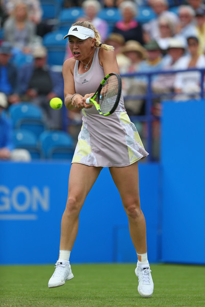 Wozniacki hits a backhand during her win over Stosur. Photo:  Steve Bardens/Getty Images