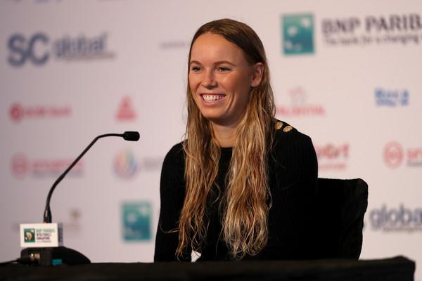 Caroline Wozniacki speaks to the media ahead of the tournament | Photo: Matthew Stockman/Getty Images AsiaPac