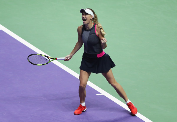Caroline Wozniacki celebrates her win | Photo: Matthew Stockman/Getty Images AsiaPac
