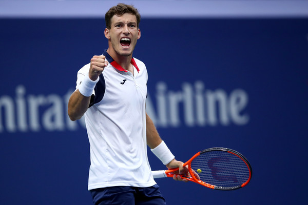 Carreno Busta fires himself up during his fourth round win. Photo: Clive Brunskill/Getty Images
