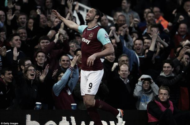 Above: Andy Carroll celebrates his goal in West Ham's 3-1 win over Watford | Photo: Getty Images