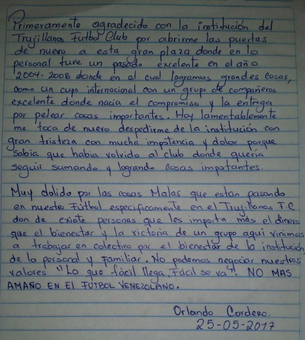 Carta de Orlando Cortero | Foto: @OrlandoCordero8