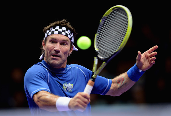 Pat Cash plays at an event in London in 2014. Photo: Jamie McDonald/Getty Images