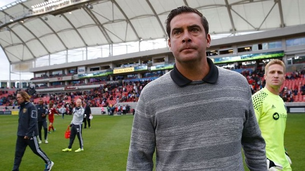 Jeff Cassar crosses the Rio Tinto Stadium turf after a match against Sporting Kansas City. | Photo: Jeff Swinger, USA TODAY Sports