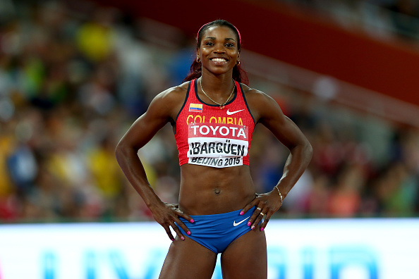 Caterine Ibarguen at the World Championships last year (Getty/Michael Steele)