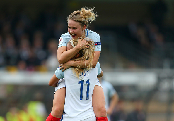 Izzy Christiansen celebrates with Rachel Daly after Daly's first goal for England (Photo credit: Catherine Ivill/AMA)