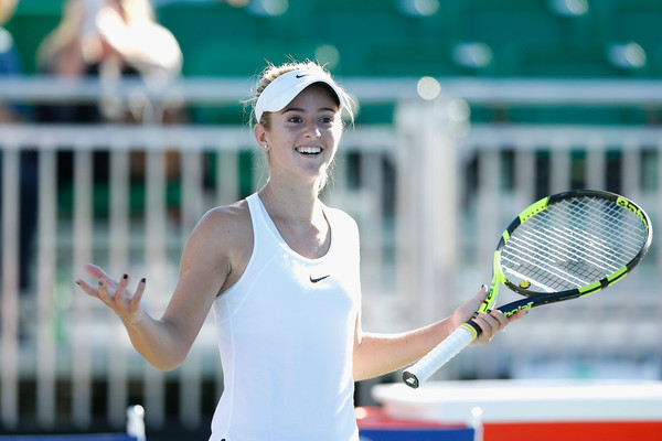 Catherine Bellis celebrates after defeating Sachia Vickery in the second round of the 2016 Bank of the West Classic. | Photo: Lachlan Cunningham/Getty Images
