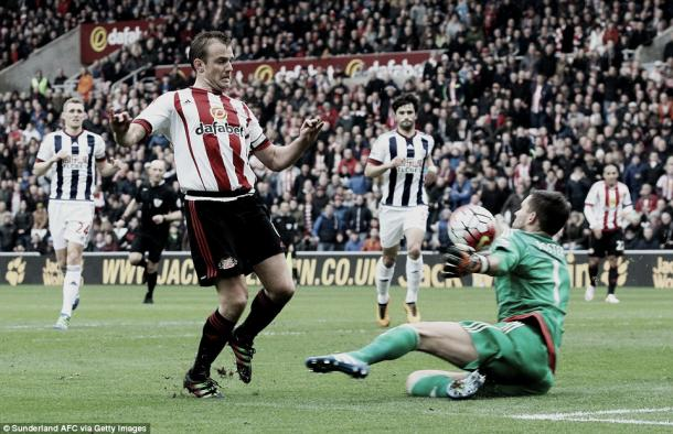 Above: Lee Cattermole's shot saved by Ben Foster who proved to be the source Sunderland's frustrations in their 0-0 draw with West Browmich Albion | Getty Images