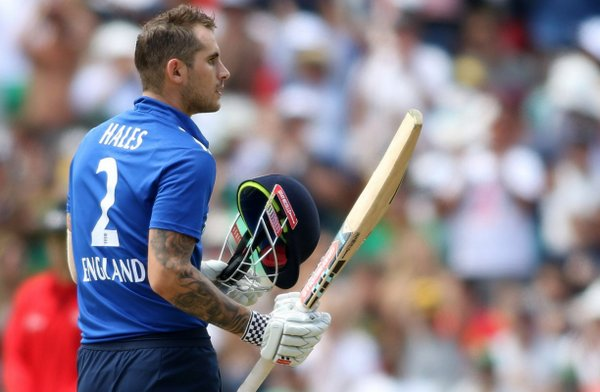 Alex Hales raising his bat after a fantastic 112 in the fifth ODI verus South Africa | Photo: Getty Images