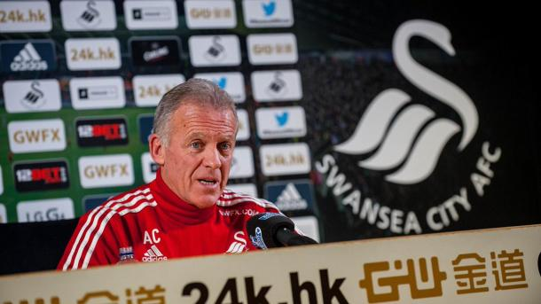 Alan Curtis took the pre-match presser in Guidolin's absence. | Photo: Swansea City AFC