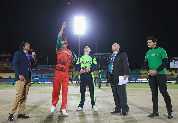The toss finally happened almost two hours after it was suppose to due to rain | Photo: ICC.com