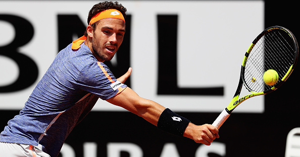 Marco Cecchinato hits a backhand during his first round loss. Photo: Matthew Lewis/Getty Images