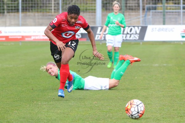 Desire Oparanozie had an outstanding game on Sunday as she bagged three match-winning goals for Guingamp. (Photo: Lisa Tilly)