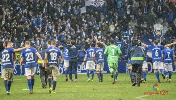 Celebración de la victoria ante el Real Sporting de Gijón. | Imagen: La Liga