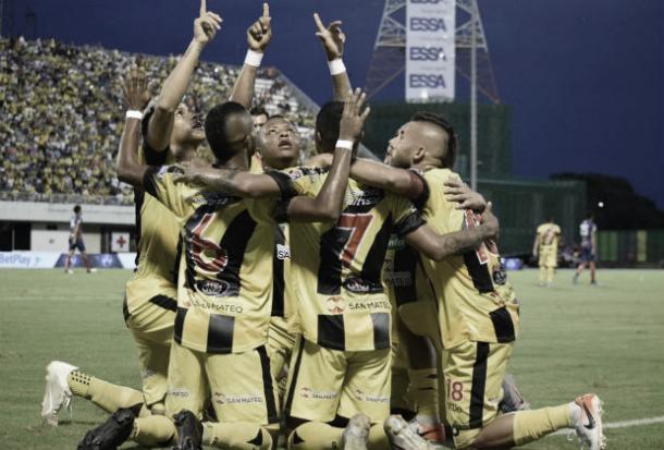 Celebración del gol de Alianza Petrolera | Foto: Dimayor