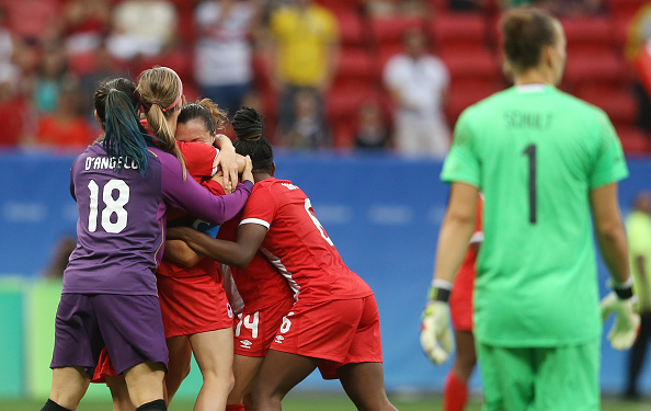 Canada celebrate their historic win (credit: Celso Junior/Getty)
