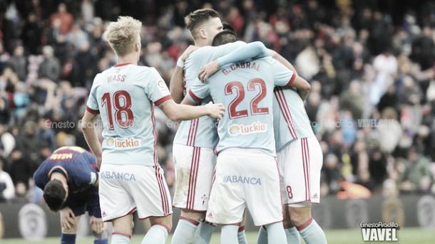 El Celta celebra un nuevo gol | Foto: Ernesto Aradilla - VAVEL