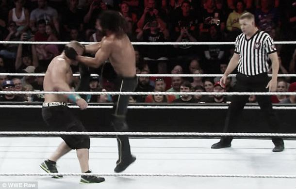 Rollins breaks Cena's nose (image:dailymail.co.uk)