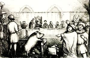 Caricatura de un juicio animal, Fuente: wikicomons