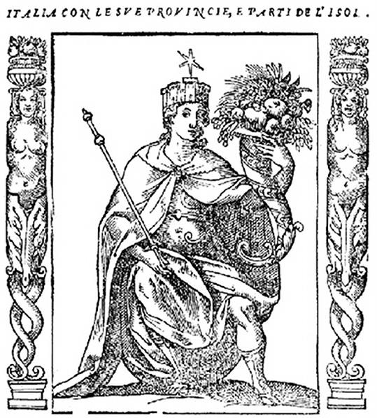 Italia Turrita, coronada y estrellada con la Stella d'Italia, por Cesare Ripa (1603). PD.