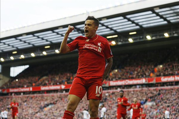 Coutinho celebrates his opener versus Spurs | Photo: Getty Images