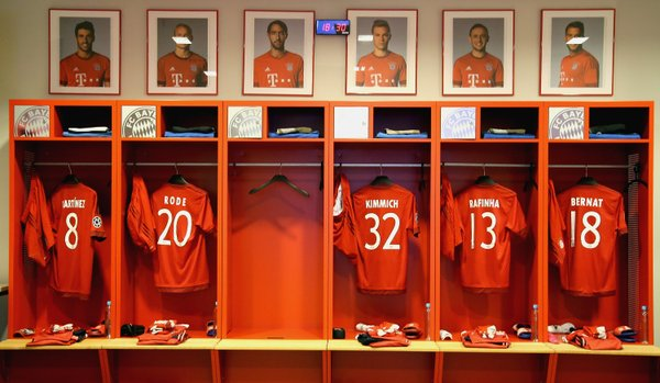 Lo spogliatoio del Bayern all'Allianz Arena. Fonte: Uefa.com