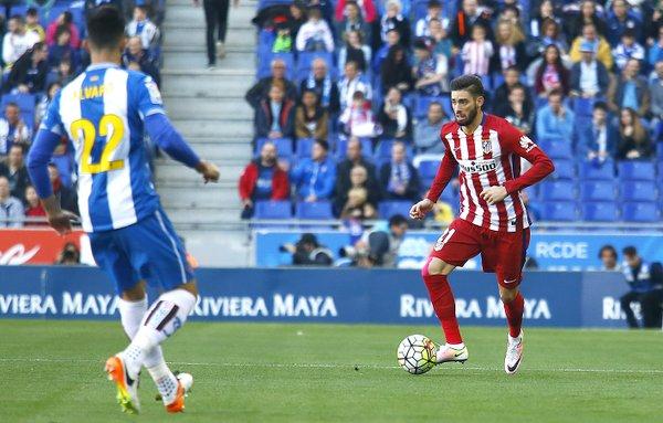 Carrasco in possesso palla durante i primi 45'. Fonte: clubatleticodemadrid.com
