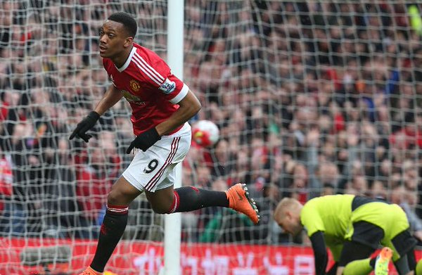 Martial gave the Reds a deserved lead against the Foxes at Old Trafford | Photo: Getty Images