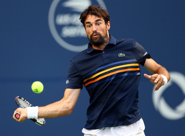 Jeremy Chardy lines up a forehand during his loss to Shapovalov. That shot let him down often in the match. Photo: Getty Images