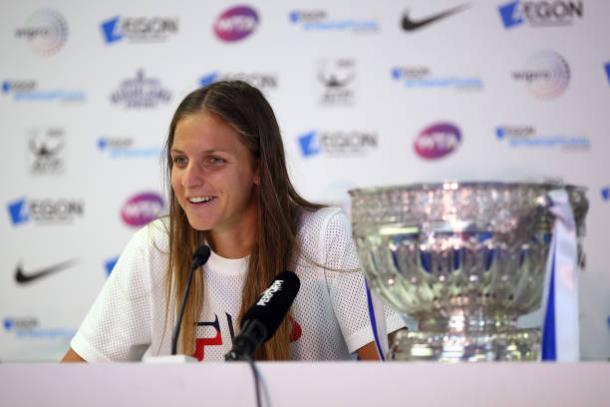 Karolina Pliskova after winning her ninth career title at the Aegon International (Getty/Charlie Crowhurst)