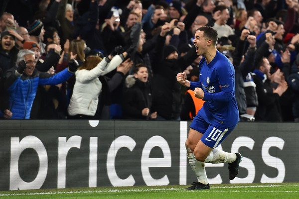 Hazard celebra el emapte. Foto: Getty Images