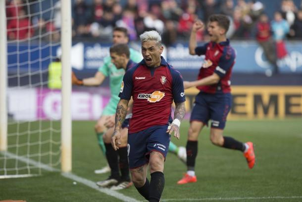 Chimy Ávila celebrando un gol ante el Athletic de Bilbao | Fuente: Osasuna