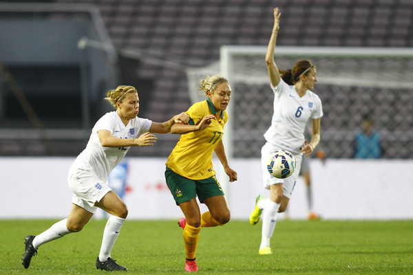 Flaherty earning her second cap against Australia in China | Credit: ChinaFotoPress / Getty Images