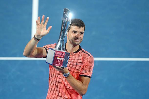 Grigor Dimitrov with the Brisbane International title back in January (Getty/Chris Hyde)