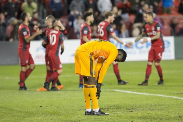 Andre Blake tried his best but was ultimately powerless to stop the Toronto onslaught | Source: Chris Young-The Canadian Press